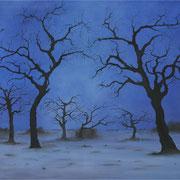 Bäume in blau, Acryl und Öl auf Leinwand, 100 x 80