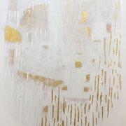 The Beautiful Healing Tree  acrylic, marble, resin, gold, lapiz on canvas, 116 x 81 cm