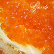 """торт """"Бутерброд с икрой"""". 2,7кг. Внутри ванильный бисквит, черносмородиновый конфитюр, сливочно-заварной крем. Украшение верха - ванильный заварной крем, икра - сладкое апельсиновое  желе."""