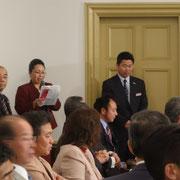 懇親会進行:西岡恵美子副事務長 開会挨拶:宮野博光副会長