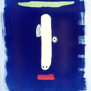 Photogramme, cyanotype aquarellé,  épreuve unique, 1998. H76 x L57 cm © Annick Maroussy  -  Papier   BFK Rives.