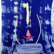 Photogramme, cyanotype aquarellé,  épreuve unique, 1998. H57 x L38 cm  © Annick Maroussy  -  Papier   BFK Rives.