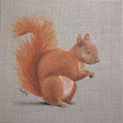 """""""Ecureuil roux"""" - acrylique - 30 x 30 cm"""