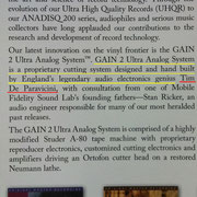 GAIN 2 Ultra Analog System™は英国の伝説的オーディオエレクトロニクスの天才、ティム・デ・パラヴィチーニの設計、及びハンドビルドによる独自のアナログカッティングシステムです。