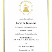 1996 グラミー賞:ワールドミュージック賞ノミネート