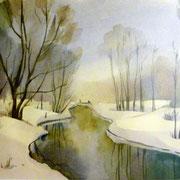 Winterlandschaft, Aquarell auf Papier, 40x50
