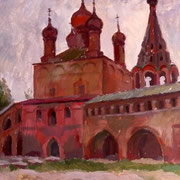 Altes Moskau, Gouache auf Papier, 40x60