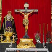 El Cristo del Silencio sobre su Peana durante los cultos