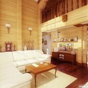 Классический интерьер в деревянном доме