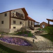 Видовая точка ландшафта с видом на дом и цветники