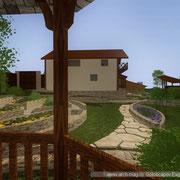 Видовая точка ландшафта из беседки  с видом на гостевой дом