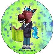 """Illustration für Geschenkkarte """"Pferd mit Buch"""""""