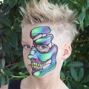 Kinderschminken - Halloween -- Mask neon rainbow half scull