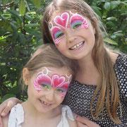 Kinderschminken - Sommerfest - Kindergeburtstag -- Mask heart tribal - Maske Regenbogen / Herz / Tribal