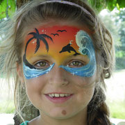 Kinderschminken - Sommerfest - Kindergeburtstag -- Mask beachtime - Maske Strand / Palmen / Delfin