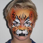 Kinderschminken - Kinderfest - Kindergeburtstag -- beliebtes Motiv für Jungs - gefährlicher Tiger