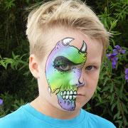 Neon - half - skull