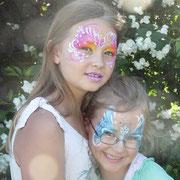 Kinderschminken - Sommerfest - Kindergeburtstag -- Mask summerfeeling / snowprincess - Masken Schneekönigin / Schmetterling