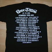 European Tourshirt '01 Back