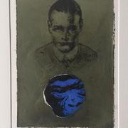 Monotypie: MONKEY blue (incl. Rahmen) 2019 Papier  60 x 50 cm