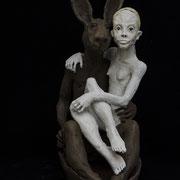 La fille et le lapin dans la barque  2017 Terracotta 63 x 51 x 30 cm
