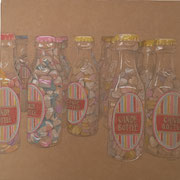 Candy-Bottle ( incl. Rahmen), 2016 Mischtechnik auf Karton, ca. 45 x 45 cm