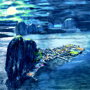 """Vietnam (Aus dem Bilderbuch """"Der Vogel"""") 2018 Bleistift, Buntstift und Ölfarbe auf Transparentpapier  38 x 56 cm"""
