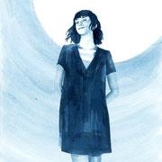 Moongirl 4 2019 Tuschezeichnung auf Papier, gerahmt 29,7 x 21 cm
