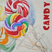 Candy (Schrift) 2017 Mixed Media auf Leinwand 21 x 21 cm