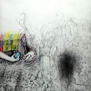 Paar, 2013, Bleistift/Buntstift auf Papier, 150 x 150 cm