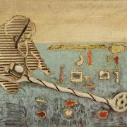 Spurensuche, 2013, Pappel Mixed Media, ca. 104 x 67 x 10 cm