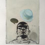 Monotypie: HAT mint (incl. Rahmen) 2019 Papier  60 x 50 cm