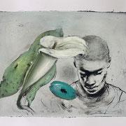 FLOWERMAN 2 2020 Mixed Media auf Papier  40 x 70 cm