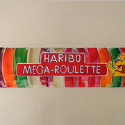Haribo-Megaroulette, 2016, Mischtechnik auf Leinwand, ca. 50 x 120 cm