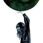 Moongirl 9 2019 Tuschezeichnung auf Papier, gerahmt 29,7 x 21 cm