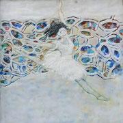 Balletttaenzerin_1 , o.J., Paraffin und Öl auf Nessel,  20 x 20 cm