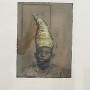 HAT yellow 2019 Monotypie  Papier (incl. Rahmen) Blatt: 60 x 50 cm                incl. Rahmen: 63 x 52,5 cm