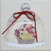 Muffin (Glashaube) 2017 Mixed Media auf Leinwand 15 x 15 cm