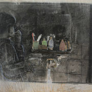 Erste Naßrasur, 2014, Pappel Mixed Media, ca. 65 x 49 x 3 cm