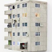 "Cuckoo Block ""Berlin"", serielles Unikat 2017 Holz, Mdf, Acrylglas, Knöpfe, LED Beleuchtung mit Batterie, Farbe, Elektronische Uhr bzw. Mechanismus, Lautstärke regelbar.Inkl. Bedienungsanleitung  Ed. 25 ca. 75 x 26 x 17 cm"