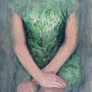 Frau in grünem Kleid, 2005/16, Öl auf Holz, 40 x 30 cm