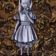 Alice im Wunderland, 2014, Öl auf Holzpanel, 30 x 23,5 cm