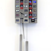 Cuckoo Block Frankfurt/ Bonames 2020 elektronischer Mechanismus, mit Beleuchtung Ed. 25; serielles Unikat 78 x 25 x 15