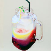 VERKAUFT !!! Getränke II, 2016,  Mischtechnik auf Leinwand, 73 x 61 cm