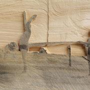 Kalte Dusche 2, 2014, Pappel, Mixed Media, 61 x 43 x 3 cm