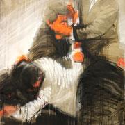 Fighters Taiwan 3 2015 Öl, Acryl, Sprühfarbe auf Leinwand  135 x 100 cm