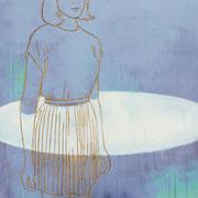 BATHING IN MOONLIGHT 2021 Acryl auf Sperrholzschnitt  100 x 130 cm