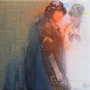 Nippon rise 2 2019 Öl, Sprühlack auf Leinwand  ca. 20 x 20 cm