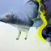 let´s twist again 2019 Öl, Sprühlack, Acryl auf Leinwand  80 x 130 cm