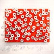 BREEZE II 2020 Glasiertes Porzellan & Neonlack auf Holz 112 x 150 x 20 cm